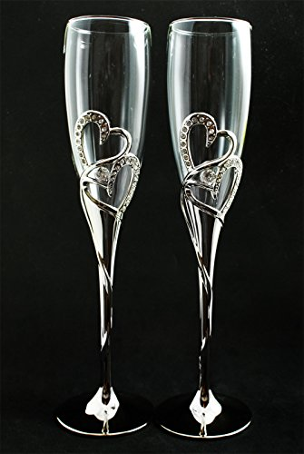 Silver Double Heart Diamond Wedding Glasses Toasting Flute Set Double Hearts Toasting Flutes