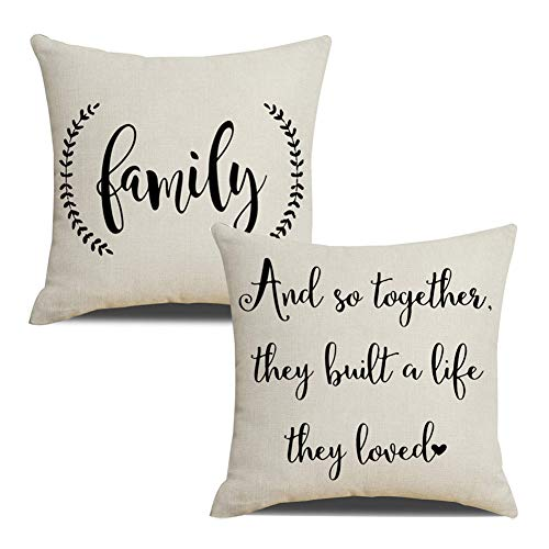 Family Throw Pillow - KACOPOL Rustic Farmhouse Quote Pillow Covers Farmhouse Decorative Cotton Linen Throw Pillow Case Cushion Cover with Words 18