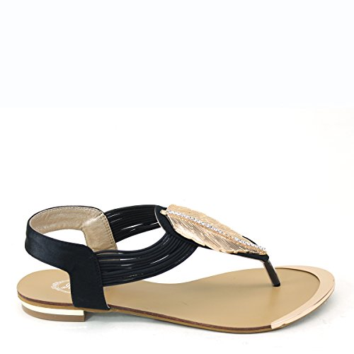 New Brieten Womens Rhinstone Strappy Metallic Leaf Flip-flop Thong T-Strap Comfort Flat Sandals Black iiYvtgCS