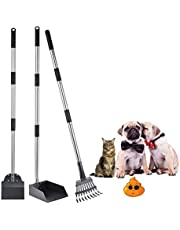 NuLink Poop Scooper for Dogs, Pet Poop Tray, 3pcs Adjustable Stainless Steel Handle Rake, Tray and Spade Set for Dogs Cats Poop Waste Removal