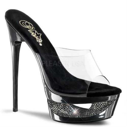 Pleaser - Sandalias mujer - Clear/Pewter
