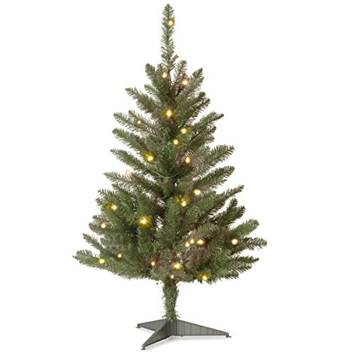 National Tree 3 Foot Kingswood Fir Wrapped Pencil Tree with 50 Clear Lights (KW7-300-30)