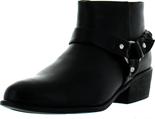- BAMBOO Womens Sadie-03 Western Buckle Ankle Booties,Black Bnh,9