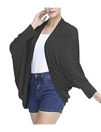 Urban CoCo Women's Loose Draped Open Front Cardigan Bat Sleeve Outwear
