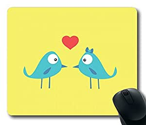 Birds In Love Mouse Pad Oblong Shaped Mouse Mat Design Natural Eco Rubber Durable Computer Desk Stationery Accessories Mouse Pads For Gift
