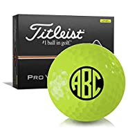 Titleist Pro V1 Yellow Monogram Personalized Golf Balls