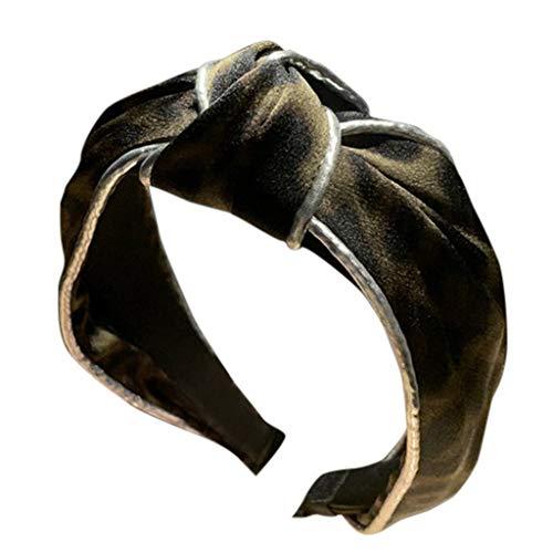 BUKEZH Women's Leopard Hairband Fashion Casual Hair Head Hoop Bow Knot Headband (Army Green) -