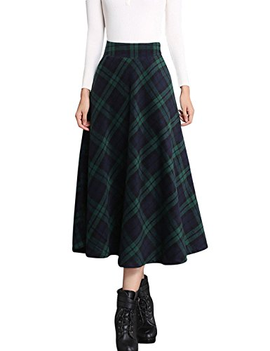 (Tanming Women's Elastic Waist A-Line Pleated Wool Plaid Long Skirt (Small, Green))