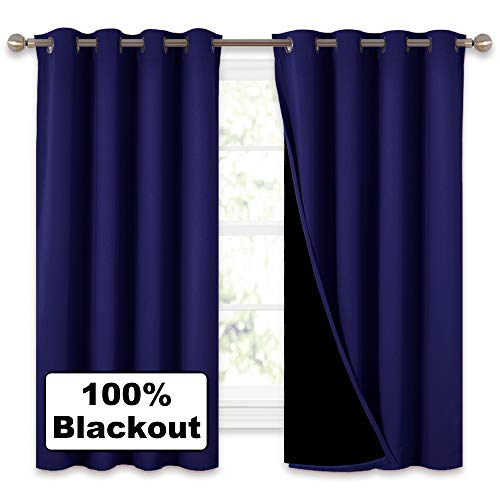 NICETOWN 100% Blackout Curtain Panels, Thermal Insulated Black Liner Curtains for Nursery Room, Noise Reducing and Heat Blocking Drapes for Windows (Royal Navy Blue, Set of 2, 52 Wide by 63 Long)