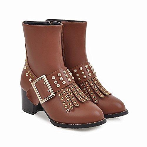 Charm Foot Mujeres Western Remache Borlas Chunky Zipper Mediados De Tacón Botas Cortas Marrón