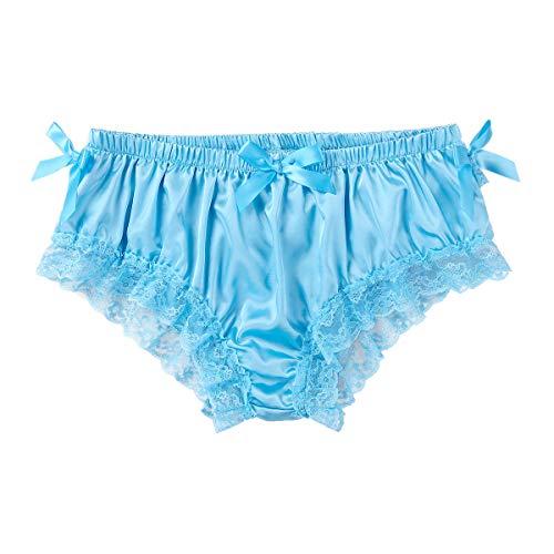 Agoky Mens Satin Bloomers Underwear Sissy Panties Lingerie Bikini Briefs Underwear