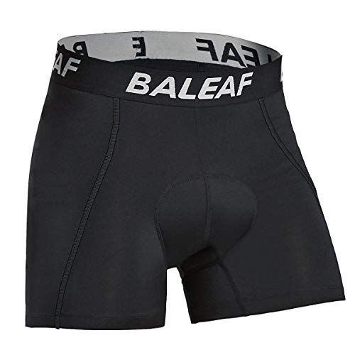 Baleaf Men's Cycling Underwear Shorts 3D Padded Bike Bicycle Pants Quick-Dry Tights Black Size L ()