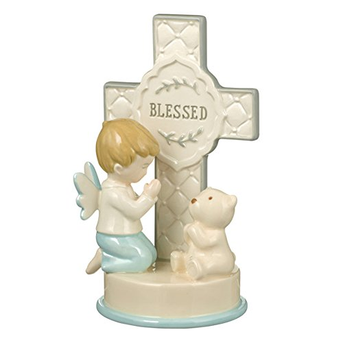 Blessed Praying Boy and Bear Quilted Look 3.5 x 6 Inch Tabletop Cross Figurine -