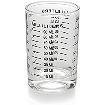 Measuring Cup Shot Glass 3 Ounce/90ML Liquid Heavy Glass Black Scale