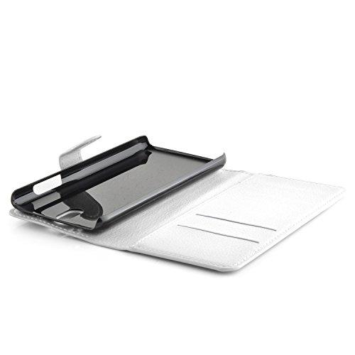 Cadorabo - Funda HTC DESIRE 610 Book Style de Cuero Sintético en Diseño Libro - Etui Case Cover Carcasa Caja Protección (con función de suporte y tarjetero) en ROJO-CARMÍN BLANCO-ÁRTICO
