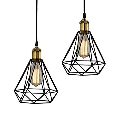- Riomasee Industrial Vintage Polygon Wire Pendant Lighting Black Metal Pendant Light Kitchen Island Hanging Ceiling Lamp for Hallway Dining Room Farmhouse W7.09