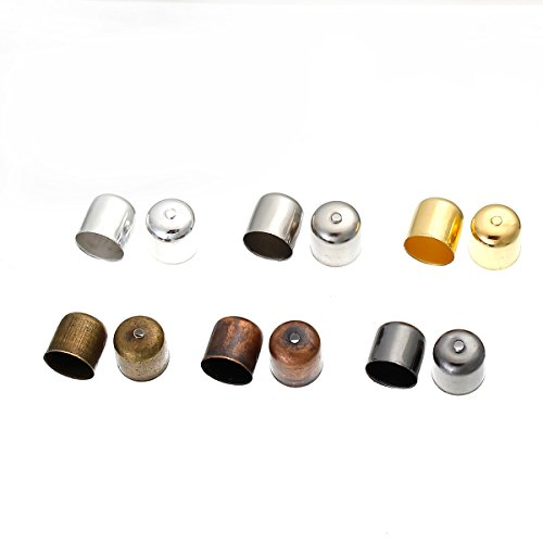 PEPPERLONELY 120pc Alloy Blunt Necklace End Tip Bead Caps Silver, Platinum, Antiqued Bronze, Red Copper, Gunmetal, Golden Color 10x11mm, (3/8