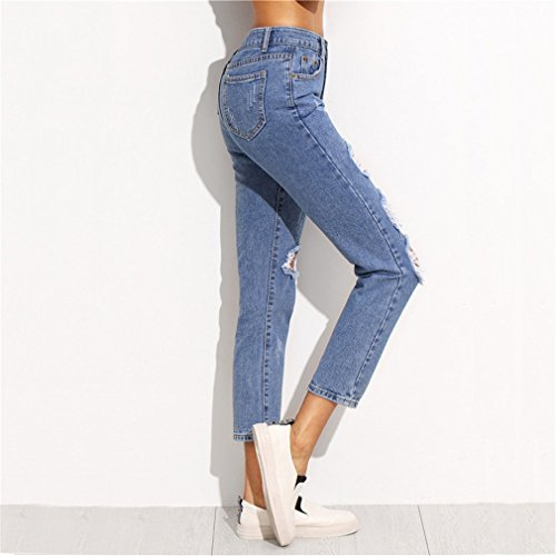 Pantalones Ripped Fashion Button Fly vaqueros Skinny recortados Jeans Pantalones Skinny Mid Blue Waist Azul Fashion rtngqrwfA
