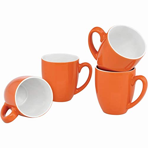 Culver 16-Ounce Bistro Ceramic Mug, Orange, Set of 4