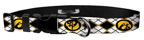 Moose Pet Wear Dog Collar - University of Iowa Adjustable Pet Collars, Made in The USA - 1 Inch Wide, Large, Argyle Hawk