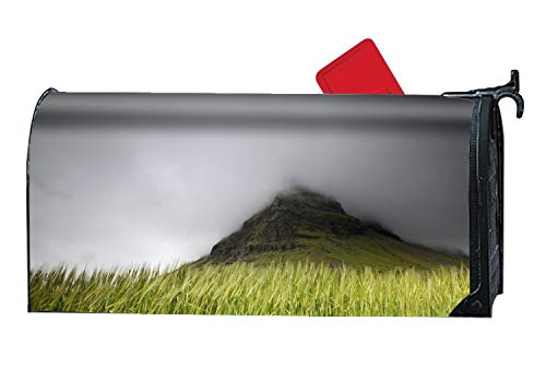 BYUII Rust-Proof Mail Box Covers Landscape Fog Mountain Wheat Grass Mailbox Makeover Cover ()