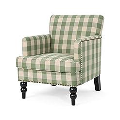Farmhouse Accent Chairs Eve Tufted Fabric Club Chair, Green Checkerboard farmhouse accent chairs