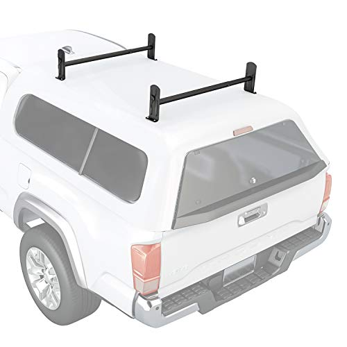 AA-Racks Model DX36 Universal Pickup Truck Cap & Topper 2 Bar Ladder Roof Van Rack System Adjustable Steel Cross Bars - Sandy Black