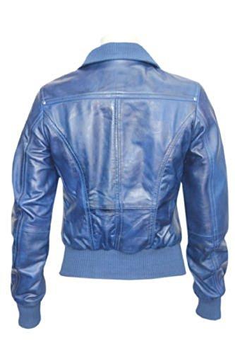 Jacket De Style Véritable Bombardiers Blue Dames Équipée Tailles Cuir Toutes qE0S5