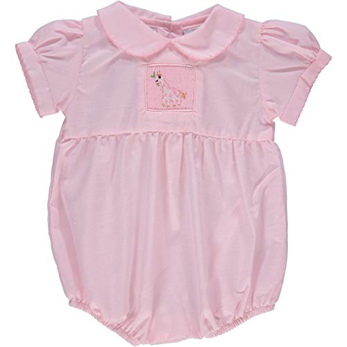 Carriage Boutique Baby Girl Hand Smocked Bubble Romper - Pink Giraffe - Bubble Smocked
