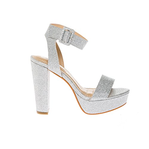 Sandals Shoes Buckle KIKI Dress Chunky Open Platform Heel Silver Glitter High Women's Toe Strap Ankle CALICO xtUcdwqEOx