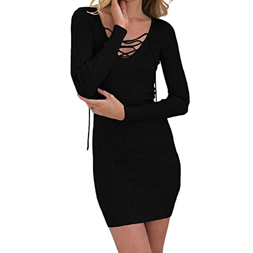 Women Versatile Durable Ribbed Knit Fit and Flare Bodycon Henley Dresses