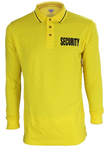 First Class Poly Cotton Long Sleeve Security Polo Shirt (Large, Yellow W/Black ID)