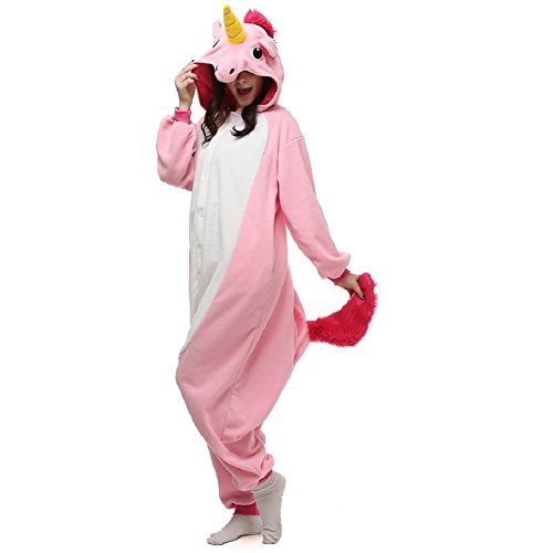 KISCHERS Adults Unicorn Onesie Pajamas Animal Cosplay Costume Hoodie Flannel Jumpsuit for womens gilrs (US L for height 165-175CM, (Super Cute Couples Halloween Costumes)