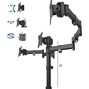"VIVO Triple Monitor Adjustable Mount / Articulating Stand for 3 LCD Screens upto 24"" (STAND-V003M)"