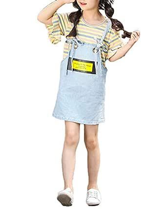 Vestidos Mezclilla Peto Vaquero Falda Dungaree + Camiseta Manga ...