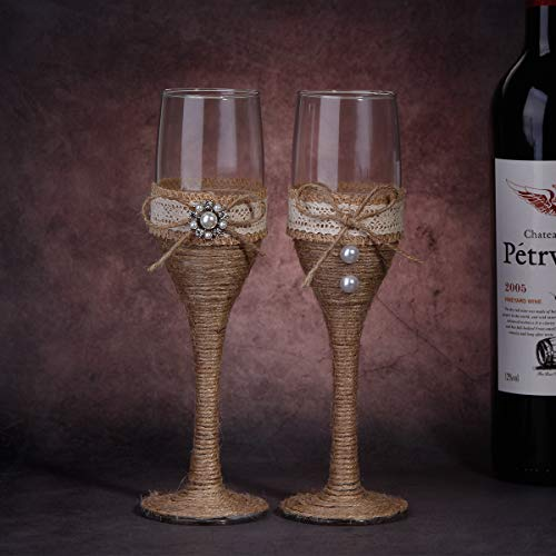 Wedding Champagne Flutes Set of 2 Toasting Glasses for Bride Groom Rustic Wedding Keepsake, 2019 New Gifts to - Flutes Pearl Heart Toasting
