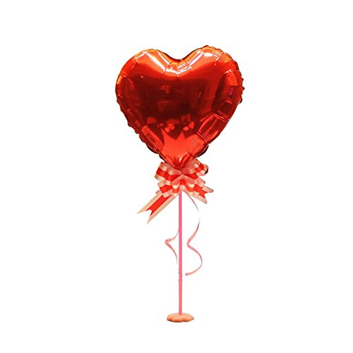 Aolvo Balloon Pillar Stand, Balloon Centerpiece Stand Kit Including PVC Balloon Stick Stand Pole Base Cup Ribbon Flower and 3D Heart Shaped Foil Balloon for Wedding Party Decorations and -