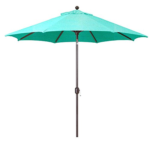 Aruba Sunbrella - Galtech 9-Foot (Model 737) Deluxe Auto-Tilt Umbrella with Antique Bronze Frame and Sunbrella Fabric Aruba (Includes Extended Frame Warrantee)