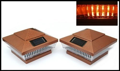 8-Pack Solar Hammered Bronze Finish Post Deck Fence Cap Lights for 6'' X 6'' Vinyl/PVC or Wood Posts With Amber LEDs and Vertical-lined Clear Lens