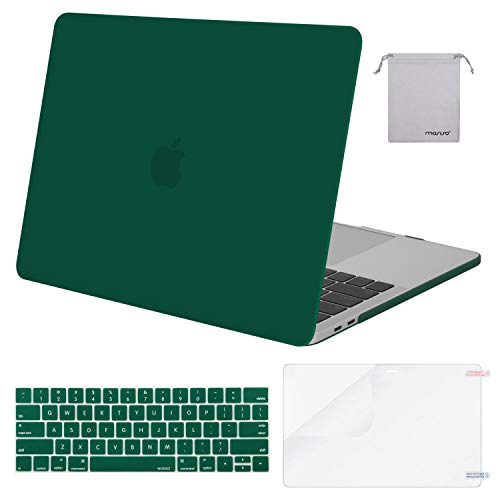 MOSISO MacBookBook Pro 13 Case 2019 2018 2017 2016 Release A1989 A1706 A1708, Plastic Hard Shell & Keyboard Cover & Screen Protector & Storage Bag Compatible Newest Mac Pro 13 Inch, Peacock Green
