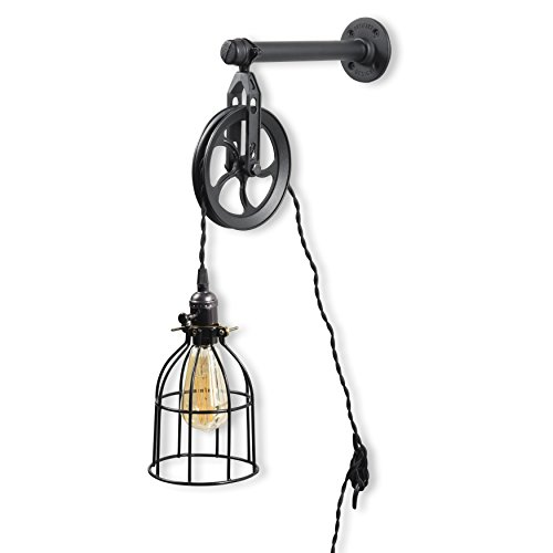 (Rustic State Vintage Chic Unique Industrial Pipe and Pulley Design Wall Pendant Lamp with Fabric Cord LED Edison Light Bulb Included in Black)