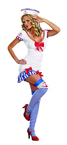 Musamk Voluptuous Women's Sailor Pin-Up Costume NavyX-Large Attractive