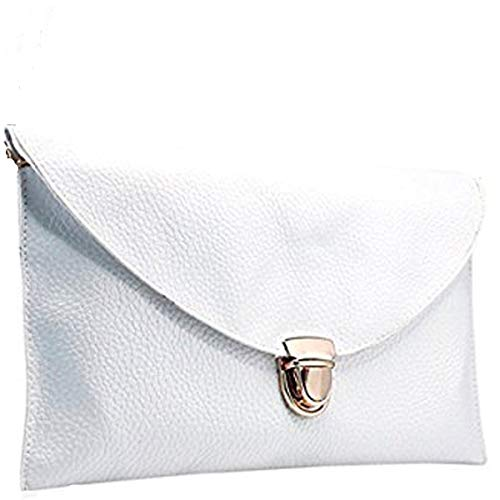 (Amaze Fashion Women Handbag Shoulder Bags Envelope Clutch Crossbody Satchel Tote Purse Leather Lady Bag (White))