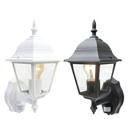 Bright Electrical Outdoor Pir Wall Lantern Sensor Light Security 4 Sided Exterior Motion Security Black