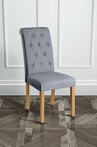 My-Furniture – GENOA – Silla de comedor tapizada con respaldo reclinado,  gris con patas de color madera natural