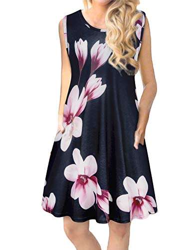 Tanst Sky Navy Blue Dress for Women, Casual Beach Sun Dresses Cute Hawaiian Summer Sundresses Flattering Bohemian Tank Slimmming Fit Knee Length Sundress Soft Light Floral Vacation Long Tunics S