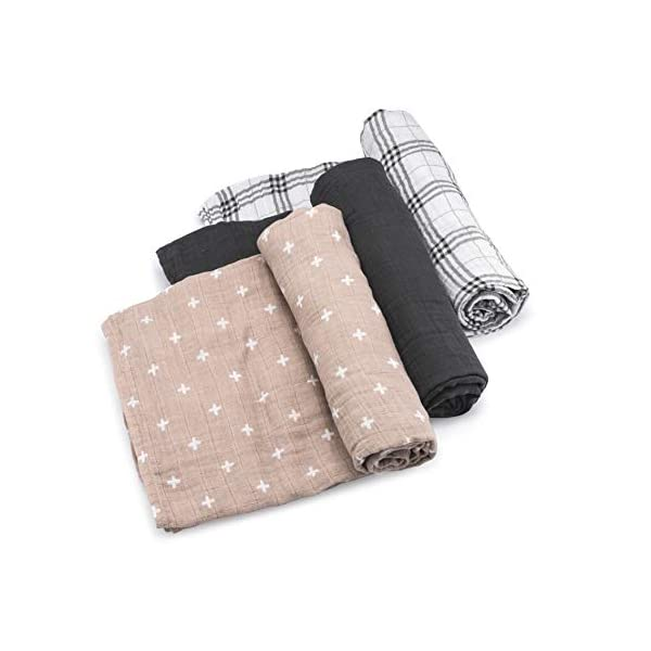 "Parker Baby Swaddle Blankets – 3 Pack of 100% Cotton Muslin Swaddle Blankets for Baby Boys and Girls – Unisex/Gender Neutral -""Classics Set"""