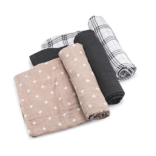 Parker Baby Swaddle Blankets - 3 Pack of 100% Cotton Muslin Swaddle Blankets for Baby Boys and Girls - Unisex/Gender Neutral -