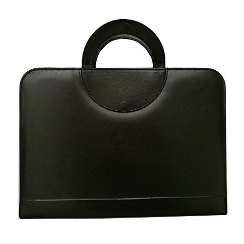 PU Leather A4 Zipped Conference Folder File Padfolio Portfolio Writing Pad with Calculator Document Case Bag with Portable Round Handle (Black) (Zipped Conference Folder)