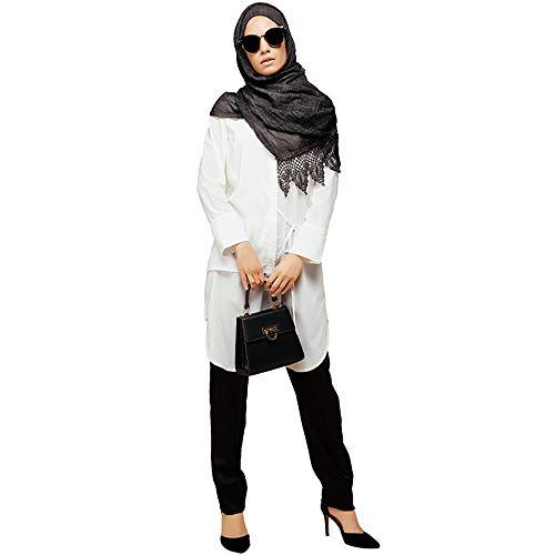 Irregular Mujer Blanco L Camisa tamaño Cómodo Elegante Musulmán Largo Algodón Cvbndfe De fn8taxpq